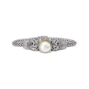 Eleganza Sterling Silver/18kt Gold Pearl Bracelet
